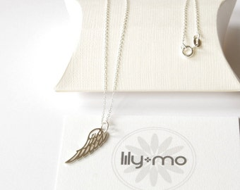 Silver Wing Necklace, bird wing necklace, silver wing necklace, boho jewellery