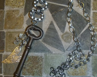 Vintage skeleton key, crystals and engraved heart charm