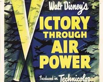 Victory through air power Disney 1943 propaganda poster print 19x12.5 inches