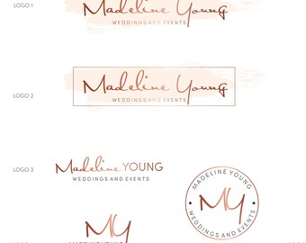 Branding Kit, Premade branding package, Photography Logo, Wedding logo, Watercolor logo design, rose gold branding Business logo design, 047