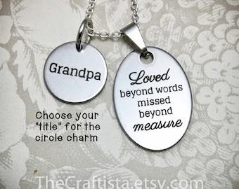 LW, Memorial Necklace, Memorial Dad, Memorial Grandpa, Memorial Papaw, Memorial Uncle, Memorial Cousin, Memorial Son, Memorial Brother, Pops