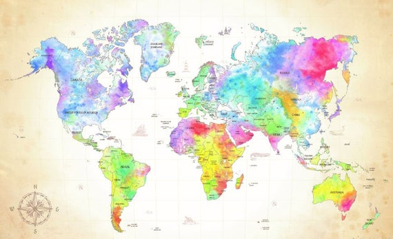 World map wall mural painting map wallpaper colorful world world map wall mural painting map wallpaper colorful world map watercolor world map world map decal modern world map wallpaper map gumiabroncs Image collections