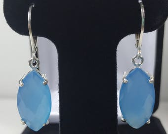 GENUINE 13ct Marquise Cut Turquoise Blue Chalcedony Earrings Sterling Silver Leverback Dangle Trending Jewelry Gifts Mom Wife Bride Bridal