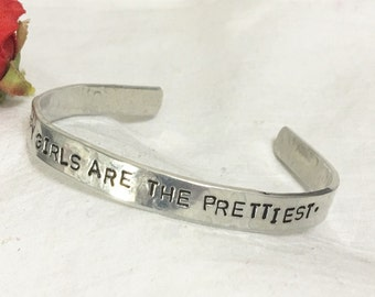 Happy Girls are the Prettiest, hand stamped silver cuff bracelet, quote by Audrey Hepburn. Real pretty women are confident and happy!