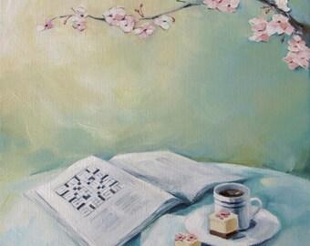 "Crossword & Coffee Art Print - Aqua Yellow Mint Decor - ""Square Bliss"""