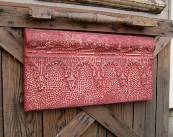 Large Red vintage wall decor, Antique Architectural salvage, Old metal tile, 10th tin anniversary gift, Ceiling tin tile, Red wall art,