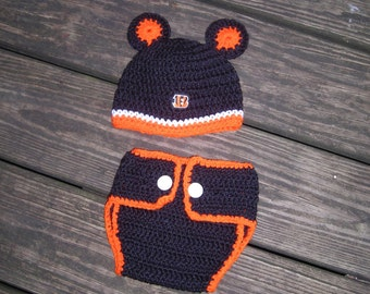 Bengals Baby Hat and Diaper Cover Set, Cincinnati Football Team Baby Set