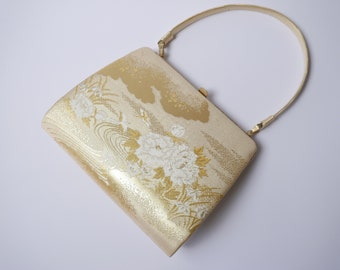 Vintage Japanese clutch bag in gold with beautiful/kimono clutch bag in silk/golden bag/gold silk clutch bag/Kimono bag