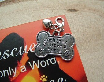 Bone & Heart ~ Rescue Dog ~ Double Clip On Charm ~ Ready to Wear ~ Gift / Birthday / Paws2Freedom Charity / Dog  / Fund Raising for Charity