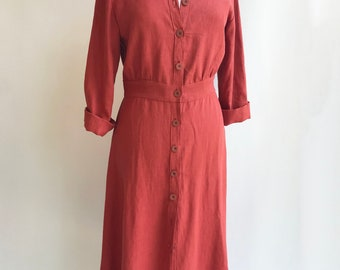 Button Up Midi Dress with Long Sleeves, Linen Work Dress, Linen Dress Midi Length, Mid Calf Length Dress