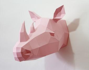 Trophy Rhino PRE CUT The Big Five, african rhino animal papercraft, 3d Origami sculpture