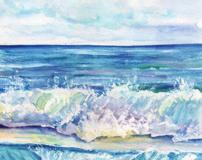 Ocean Waves - Kauai Hawaii - Kauai Art Print - Beach Wave Art - Kauai Surfing Art - Beach  Ocean Print - Hawaiian Decor - Crashing Waves