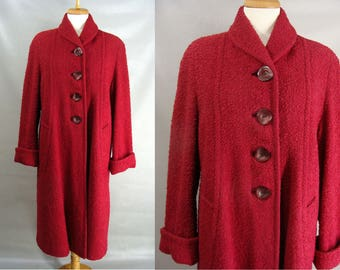 Swing Coat. Long Wool Coat. 50s Red Coat. Vintage Dress Coat. Winter Dress Coat. Boucle Coat. Mohair Coat. Ed-Mor Original. Womens size L ~~