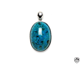 Chrysocolla Pendant, AAA Gem Quality, High Polishing, 316L Stainless steel, Made In Taiwan(05061113)