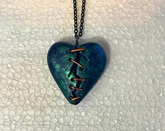 Custom Handmade Blue & Green Gothic Horror Stapled Heart Pendant Necklace OOAK!