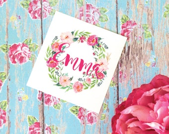 Floral Wreath Monogram Decal, Watercolor Flowers, Flower Decal, Vinyl Decal for tumbler, Floral Decal