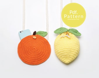 PDF. PATTERN - Orange & Lemon mini bag ,  Bag pattern, Crochet pattern.