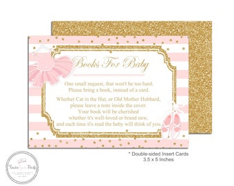 Book Request Baby Shower - Baby Shower Book Request - Books For Baby - Bring A Book Card - Tutu Baby Shower - Baby Shower Game - Pink + Gold