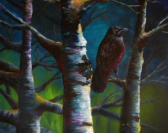Raven wall art alaska artwork colorful raven in birch tree AK last frontier nature corvus 11x14 acrylic painting alaskan northern lights