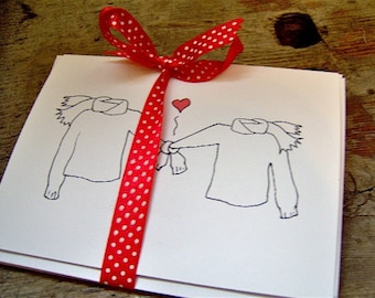 Sweater and Scarves in Love Notecard Set