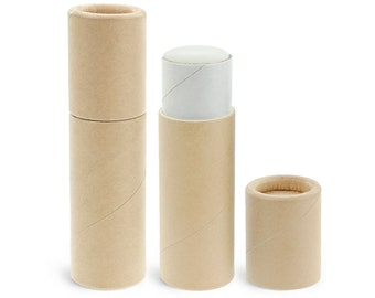 50 Pack, .3 oz, Paperboard Lip Balm Tubes, Eco-Friendly Cardboard Kraft Paper Container, Recyclable, Kraft