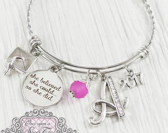 2018 Graduation Bangle,She Believed she could so she did -Jewelry-High school Graduation, College Grad,Graduate, Nursing School Graduation