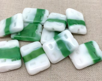 2 Vintage White Green German Rectangle Glass Focal Beads