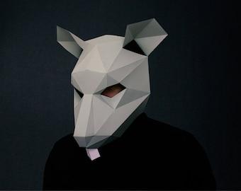 Rat Mask, Paper Mask, Animal Mask, DIY printable Animal Head, Instant Pdf download, DIY Halloween Mask, Printable Mask, Polygon Masks