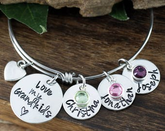 Grandma Bangle Bracelet, Hand Stamped Bangle Bracelet, Adjustable Bangle Bracelet, Personalized bracelet, Charm Bracelet, Gift for Grandma