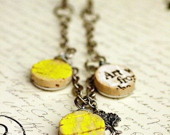 Art is Life Recycled Wine Cork Necklace - Bib Style Necklace - Art Necklace - Yellow Necklace - Tree of Life Necklace - Upcycled by Uncorked