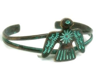 Sale  Thunderbird Bracelet, Eagle Bracelet, Copper Verdigris Patina Cuff Bracelet, Southwest, Native, Symbolic Bird, Bird Jewelry, Animal