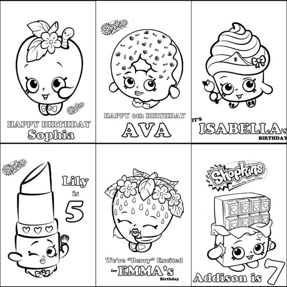 shopkins personalized coloring book for party favors or gifts printable download birthday diy school parties etc for girls boys