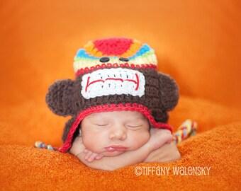 Rainbow Sock Monkey Hat