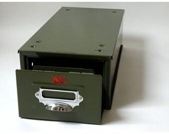 Vintage office card index filing drawer in green steel; 1950s industrial