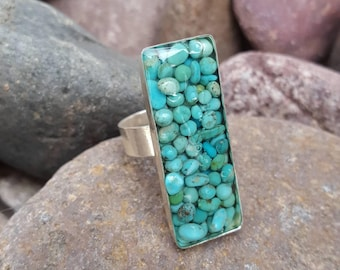 Blue Green Turquoise Ring - Rectangle - Silver Ring - Adjustable -  Statement Ring - Rustic Cowgirl Ring by Heart of a Cowgirl