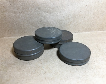 4 Tiny Watchmaker TINS Watch Parts Steampunk Mini Tin Cases Part Storage Early 1900s Lot (W4)