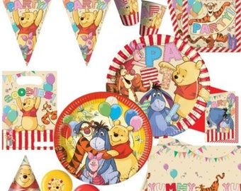 WINNIE THE POOH Party Supplies Tableware Decoration Plates Napkins Cups Tablecover Hats Banner Balloons Invitation Card Candles