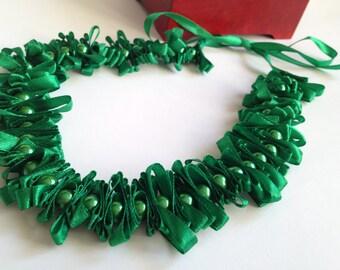 Beads Ribbon Necklace/ Beads Jewelry Ribbon/ Bridesmaid Jewelry/ Bridesmaid gift/ Green necklace/ Necklace Beads and Ribbons/ Eco necklace