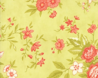 Fig Tree Fabric - Ella and Ollie Fabric Yardage - Moda Quilt Fabric - Apple - Green Floral Fabric By The 1/2 Yard