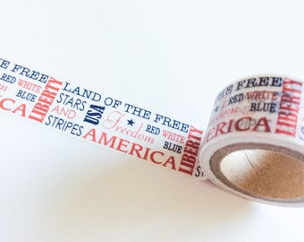 USA Crafting Tape WIDE Washi Roll Red White Blue Words 4th of July Holiday Patriotic Sayings Independence Day America Craft Planners planner
