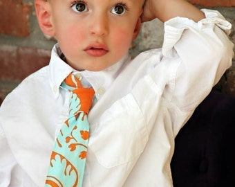Boy's Necktie Orange and Blue Damask Kids Tie