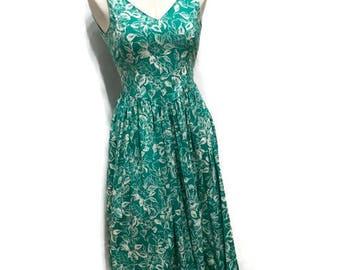 Laura Ashley Jade Green Floral Tea Dress - Cotton Sleeveless Summer Day Dress - Vintage Designer Clothing