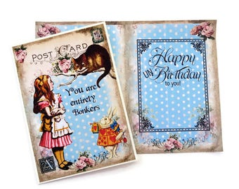 Alice in Wonderland, Birthday Card,Cheshire Cat,Tea Party, Eat me,Children Fairytale,Entirely Bonkers, Retro Vintage, Happy Un Birthday