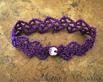 Hand Crocheted Lacy Cuff Bracelet - Purple
