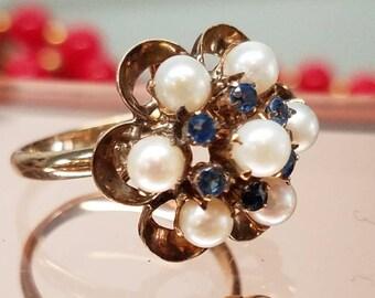 1950s Era Sapphire Pearl Ring