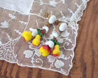 Vintage 1950s Earrings // 40s 50s Milk Glass Painted Kitsch Fruit Cluster Dangle Earrings // Pears and Apples // New Old Stock