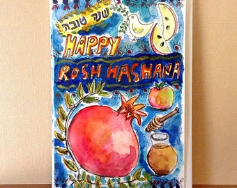 Happy Rosh Hashana, Shana Tova, Hand Painted Card, Apple in Honey, Jewish Holidays, pomegranate, Original Watercolor Painting, Judaica Art,