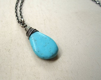 Blue green turquoise pendant drop necklace non oxidized sterling silver