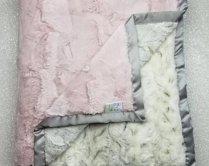 Minky blanket, faux fur throw, Rosewater hide, baby girl blanket, vintage pink, elegant blanket, pink and silver, arctic, animal print taupe