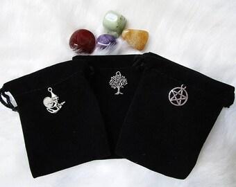 Black Pouch, Witch Pouch, Crystal Pouch, Black Velvet Pouch, Gemstone Bag, Medicine Bag, Rune Pouch